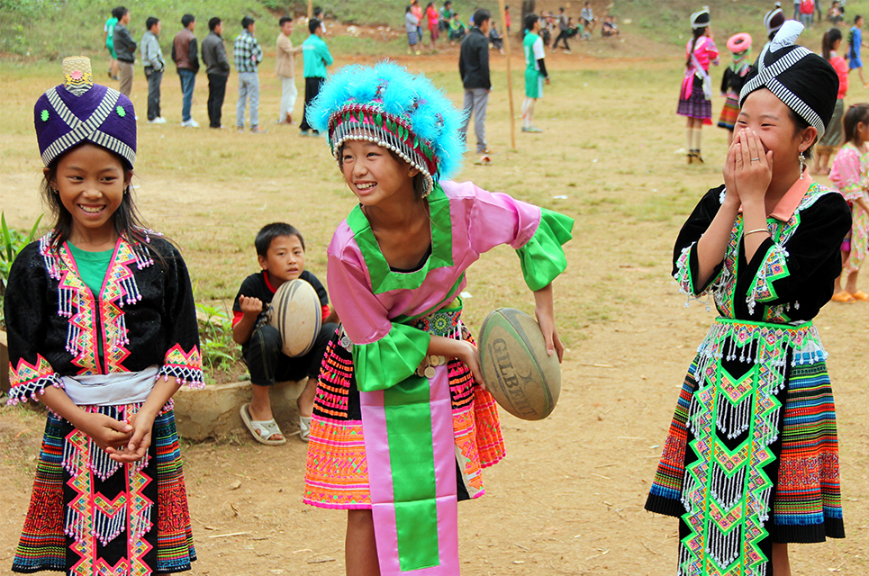 Girls in Laos playing rugby