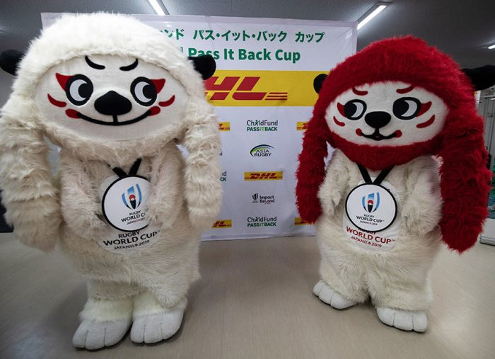 Rugby World Cup 2019 Mascots Ren-G call on rugby fans to 'pass it back' and help disadvantaged children in Asia