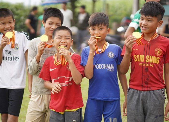 The first ever rugby tournament takes place in Tan Lac, Vietnam
