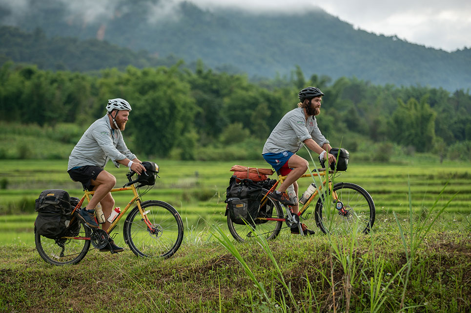 Cyclists Ron Rutland and James Owens in Laos